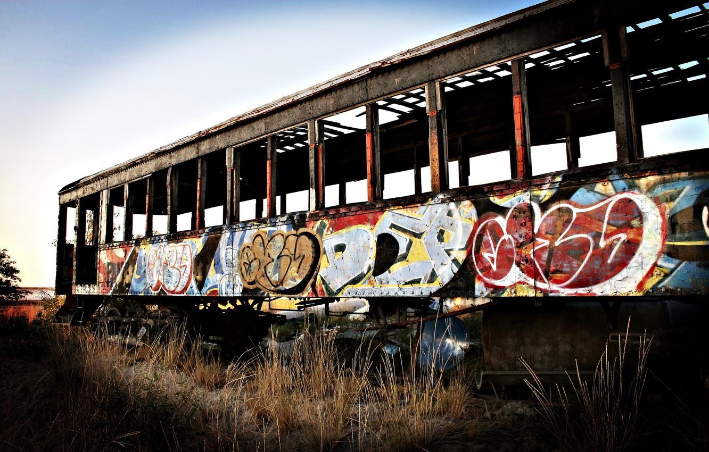 Photo wallpaper graffiti, the car, abandoned, tram
