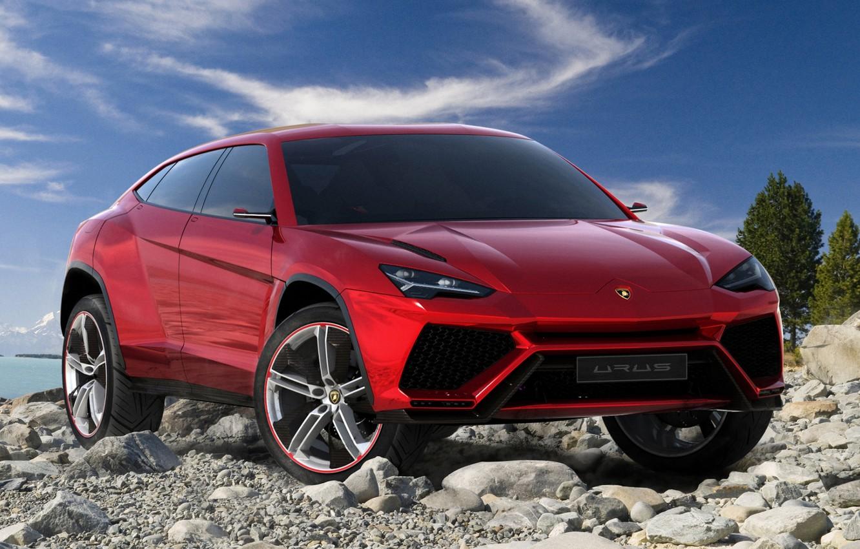 Photo wallpaper Concept, the sky, red, stones, Lamborghini, jeep, the concept, the front, Lamborghini, Urus, Urus