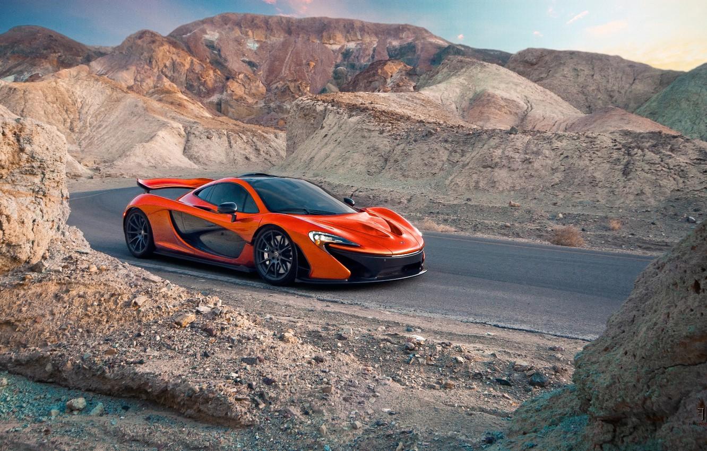 Photo wallpaper McLaren, Orange, Carver, Front, Death, Sand, Supercar, Valley, Hypercar, Exotic, Canyon, Volcano