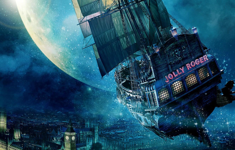Photo wallpaper City, Light, Moon, Stars, Tiger, Hugh Jackman, Night, Wallpaper, Lily, London, Flying, England, Mermaid, Big …