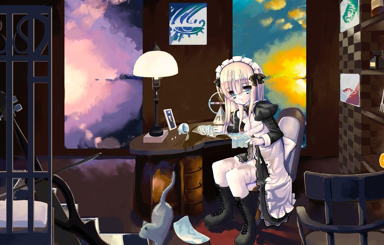 Photo wallpaper girl, loneliness, creativity