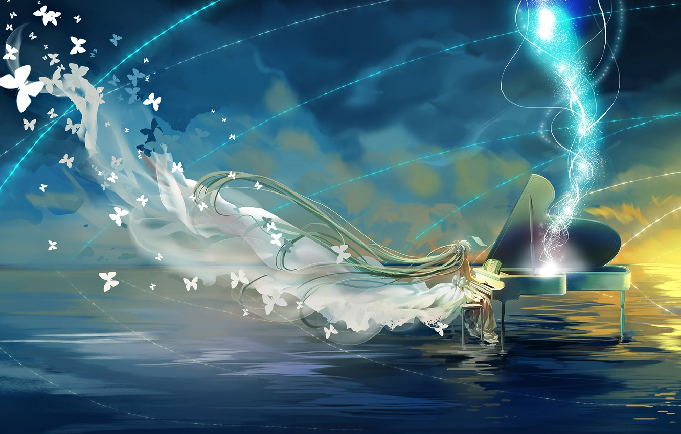 Photo wallpaper the sky, water, girl, clouds, butterfly, anime, piano, art, vocaloid, hatsune miku, miemia