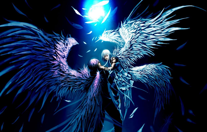 Photo wallpaper night, the moon, wings, Angels, hug