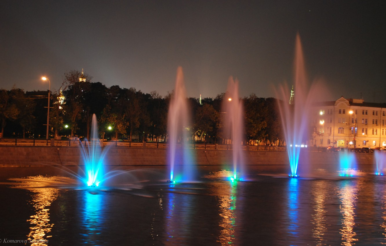 Photo wallpaper Lights, Night, River, Moscow, Fountains
