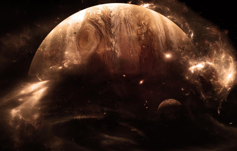 Photo wallpaper stars, light, planet, satellite, gas giant