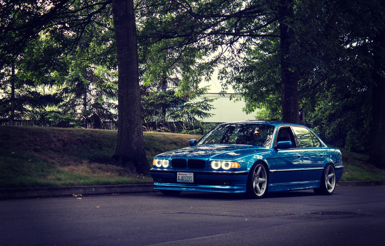 Photo wallpaper road, tuning, bmw, BMW, classic, blue, e38, stance, 750il