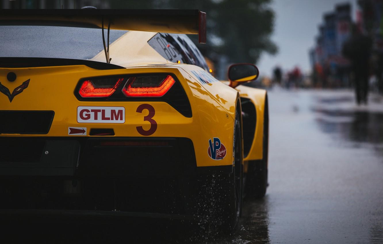 Photo wallpaper Corvette, Chevrolet, supercar, rear view, C7.R
