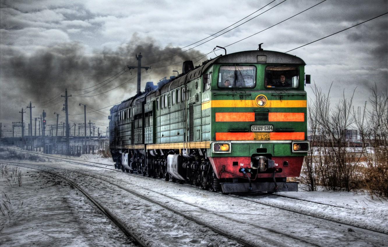 Photo wallpaper winter, hdr, railroad, locomotive
