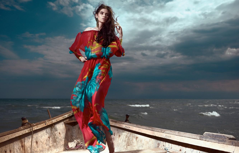 Photo wallpaper wave, girl, boat, Daniel Ilinca, Glamazons
