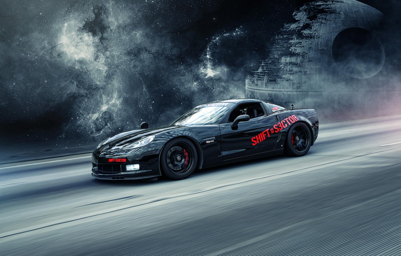 Photo wallpaper black, Corvette, Chevrolet, Chevrolet, black, Corvette, the death star, Death Star