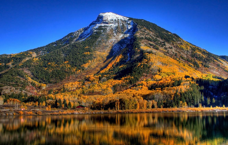 Photo wallpaper autumn, trees, mountains, lake