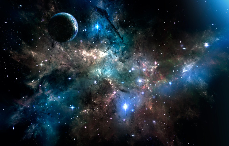 Photo wallpaper space, stars, planet