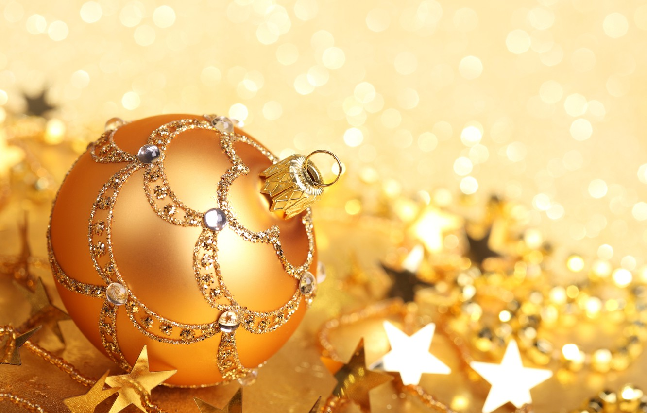 Photo wallpaper winter, patterns, toy, ball, sequins, New Year, Christmas, the scenery, gold, Christmas, stars, holidays, bokeh, …