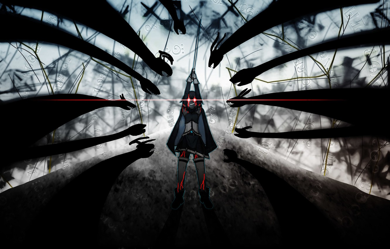 Wallpaper Magic Witch The Battle Red Eyes Shadows Sayaka Miki