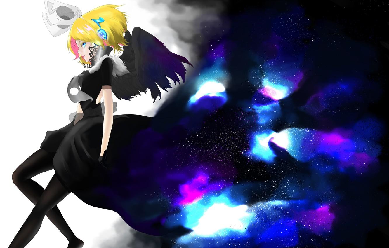 Photo wallpaper the sky, girl, stars, wings, anime, headphones, art, vocaloid, kagamine rin