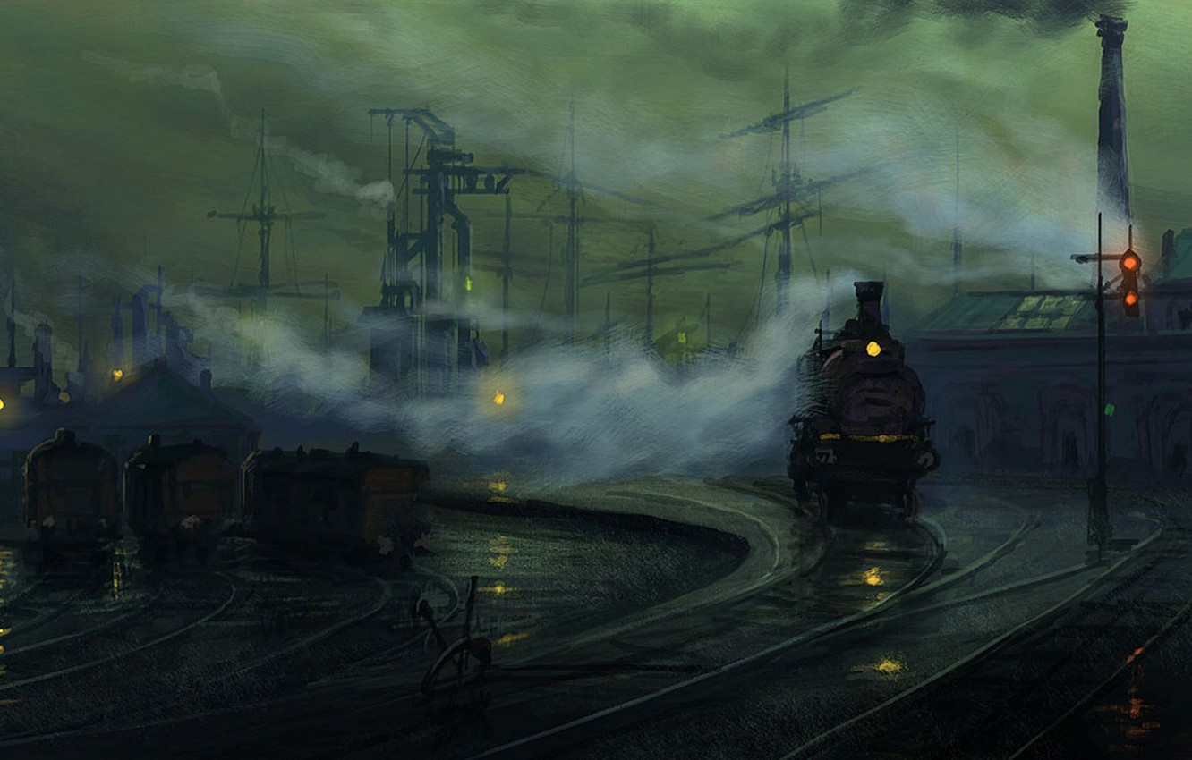 Photo wallpaper the way, lights, rails, the engine, the evening, art, by Raphael Lacoste, industrial Landscape study