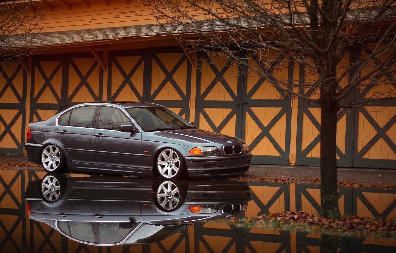 Photo wallpaper reflection, BMW, BMW, puddle, grey, E46, The 3 series, 325