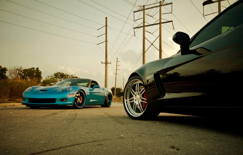 Photo wallpaper blue, black, Z06, Corvette, Chevrolet, Chevrolet, black, blue, Corvette