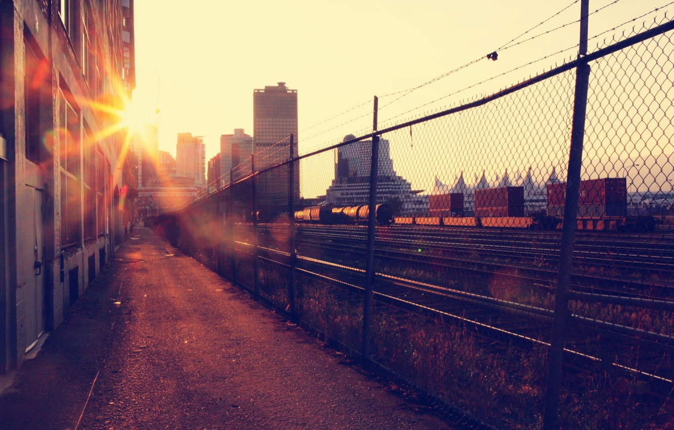 Photo wallpaper the sun, the city, building, home, morning