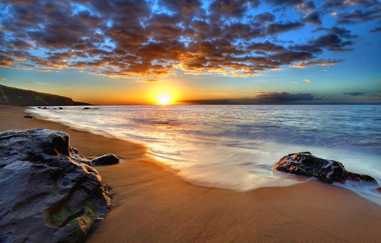 Photo wallpaper sand, sea, beach, the sky, the sun, landscape, sunset, nature, the ocean, dawn, beach, sky, …
