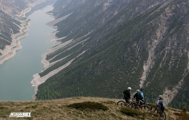 Photo wallpaper mountains, bike, lake, cute, beautiful