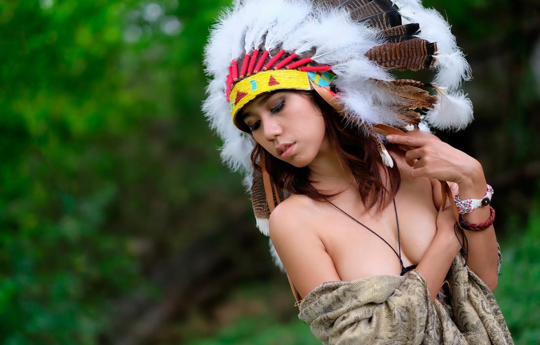 Photo wallpaper girl, portrait, feathers, headdress, Indian warrior, war bonnet