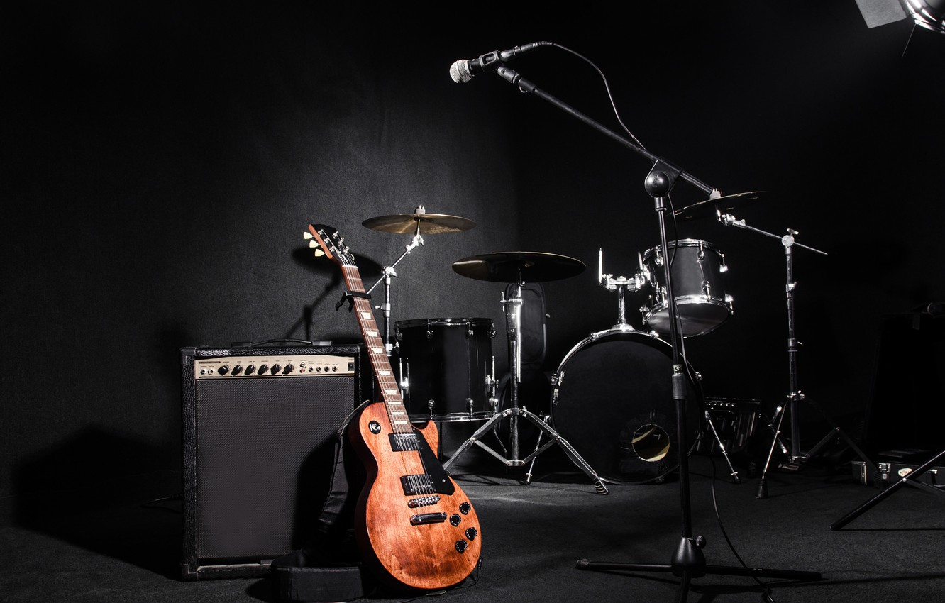 Wallpaper Light Strings Music Sound Microphone Drums