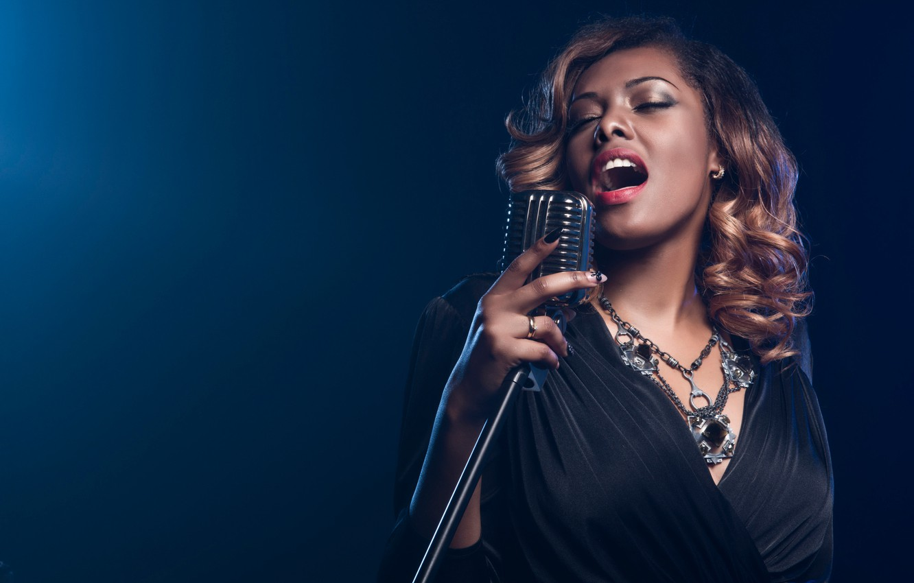 Photo wallpaper microphone, singer, song