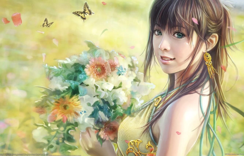 Photo wallpaper butterfly, flowers, figure, bouquet, i-chen lin