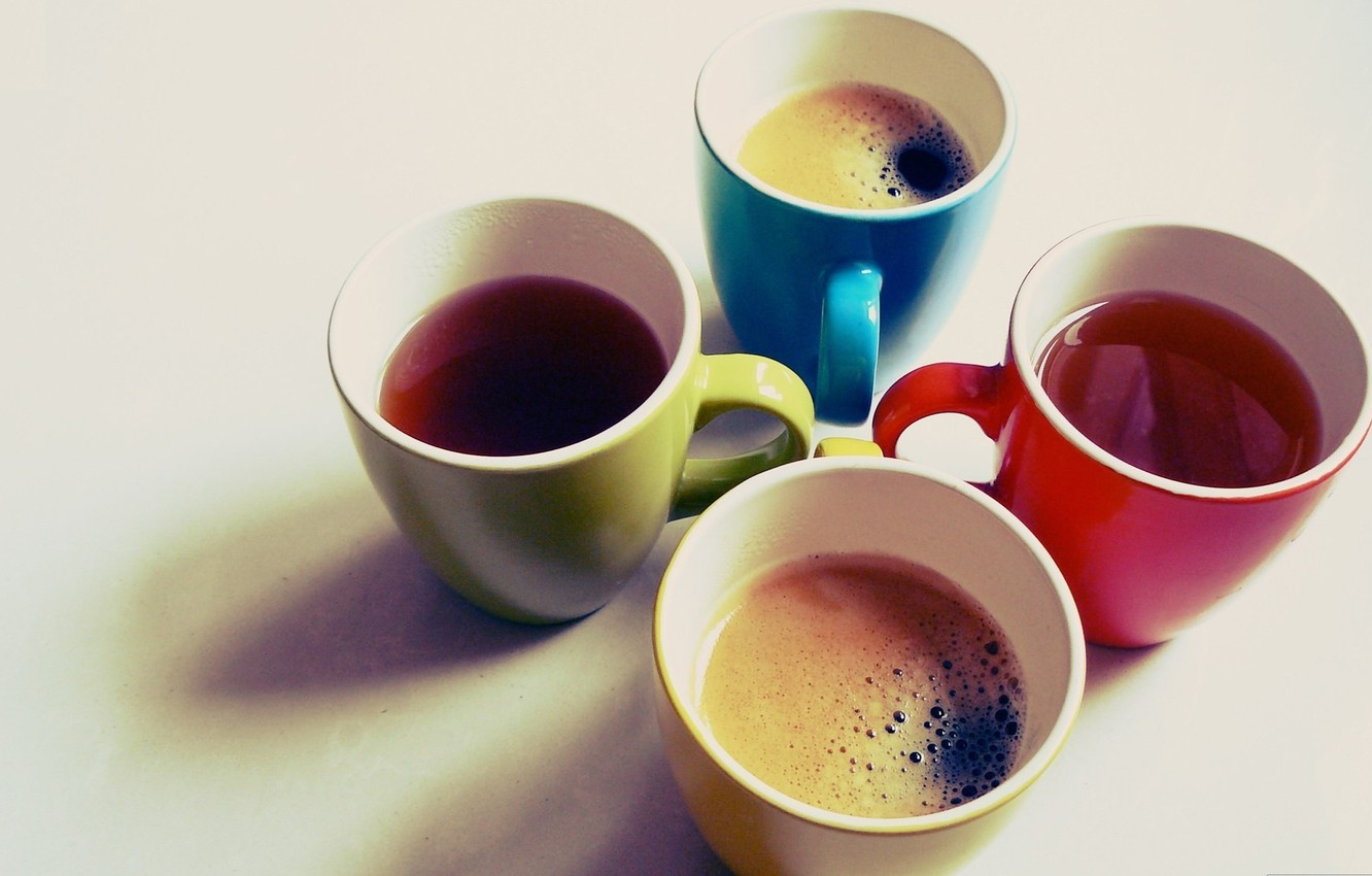 Photo wallpaper color, photo, background, Wallpaper, tea, bright, coffee, art, Cup, mugs, different