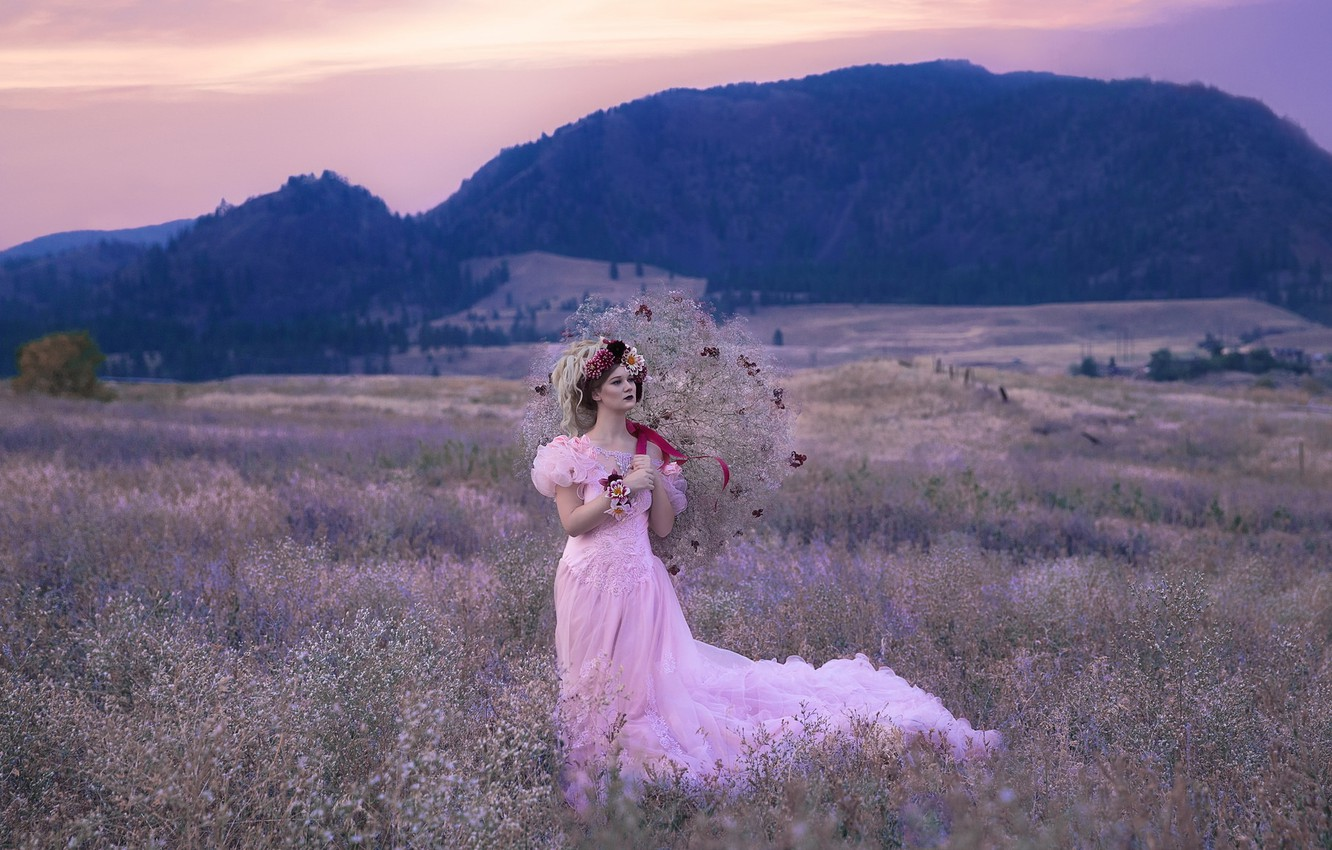 Photo wallpaper field, forest, girl, flowers, dress, fairy, fantasy, hairstyle, walk, Princess, wreath, gently, nymph, Wallpaper from …