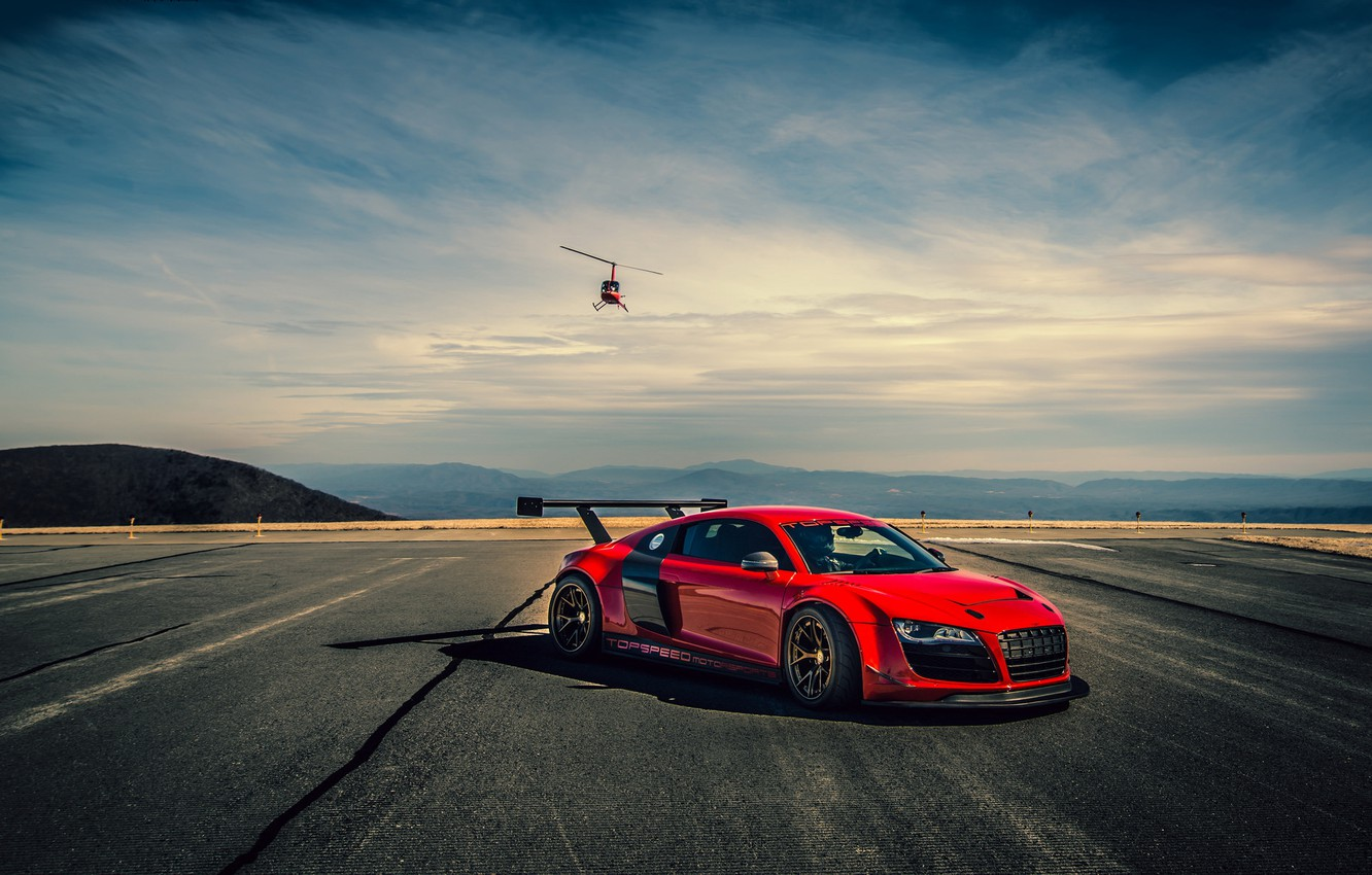 Photo wallpaper car, helicopter, red, audi r8