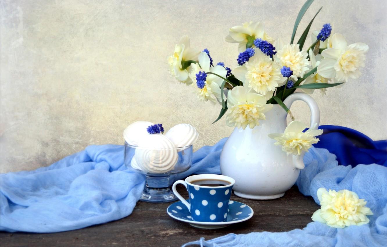 Photo wallpaper tea, bouquet, fabric, still life, daffodils, Muscari, marshmallows