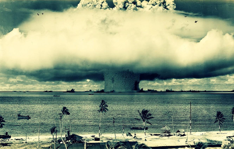 Photo wallpaper the explosion, mushroom, cloud, the atomic bomb