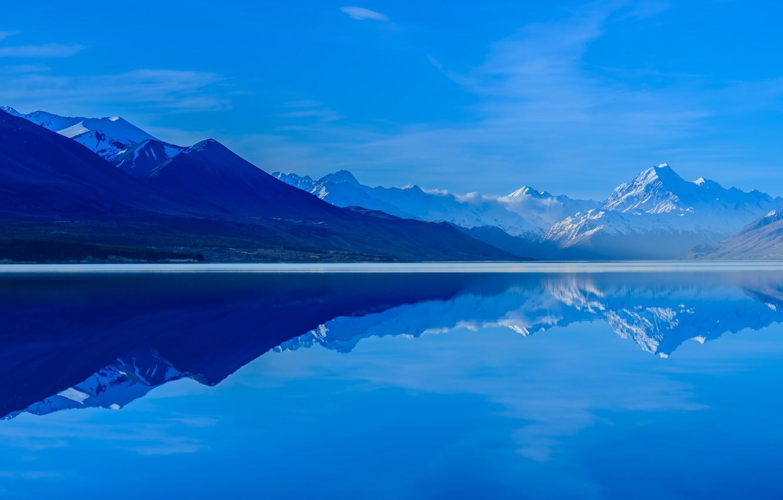 Photo wallpaper the sky, mountains, reflection, New Zealand, South island, Lake Pukaki, lake Pukaki
