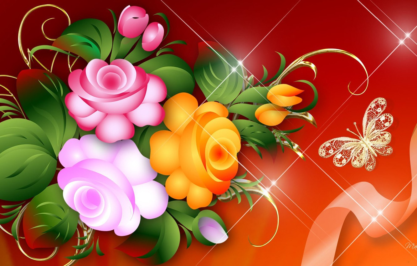 Photo wallpaper flowers, butterfly, roses, tape