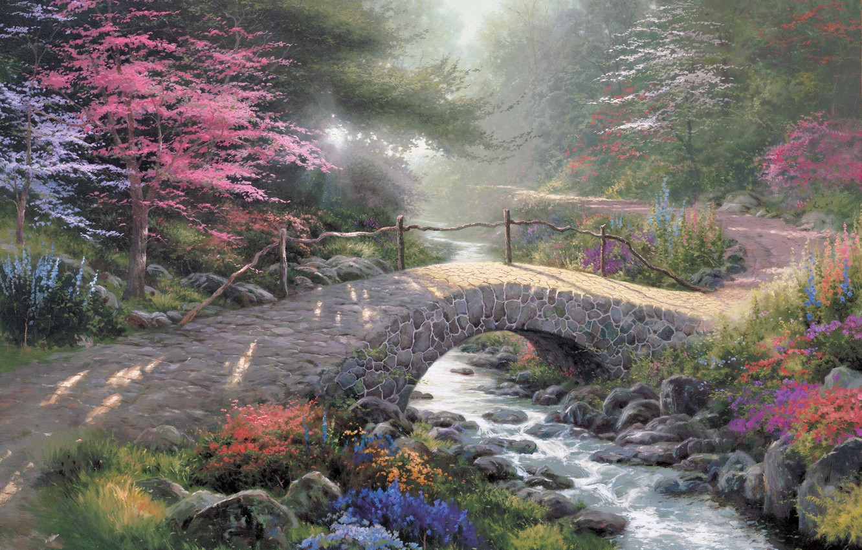 Photo wallpaper forest, light, bridge, nature, Park, stream, painting, painting, sunlight, Thomas Kinkade, Kinkade, Bridge Of Faith