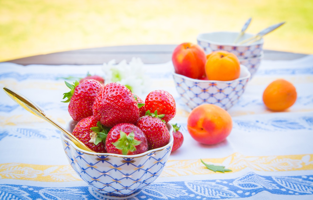 Photo wallpaper summer, berries, table, strawberry, fruit, tablecloth, apricots, bowl