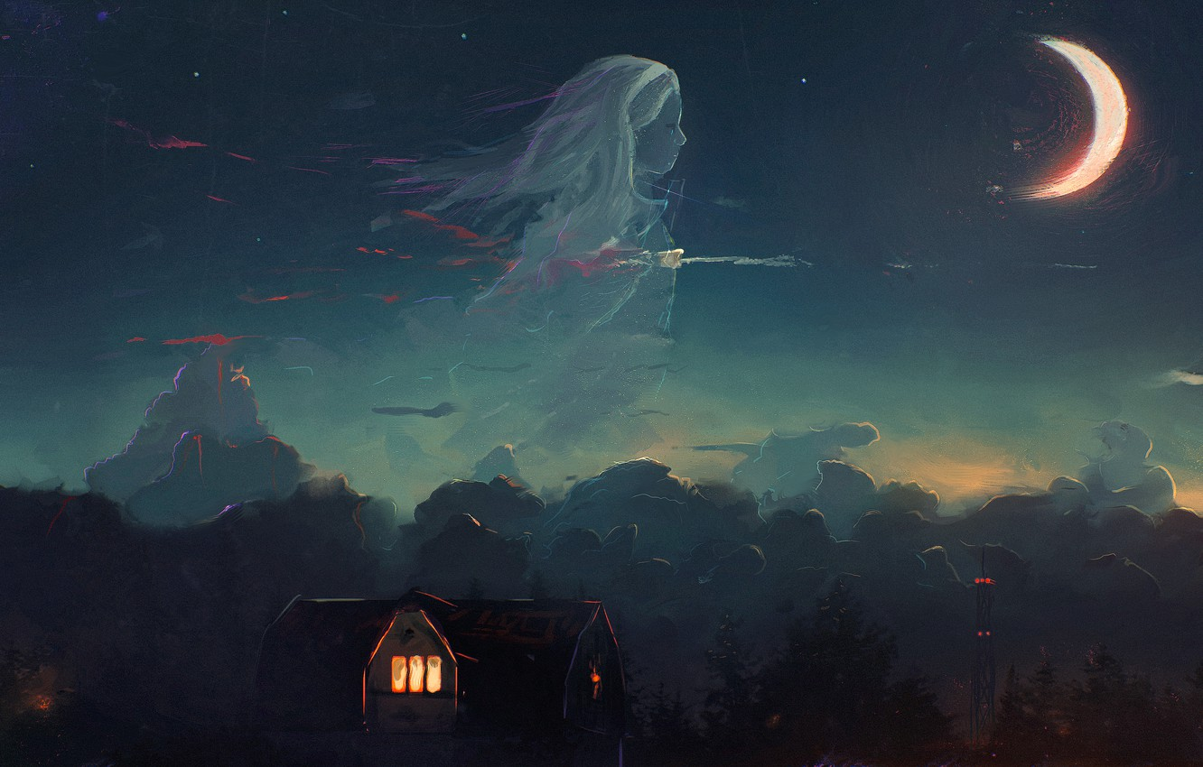 Photo wallpaper forest, the sky, girl, clouds, night, house, the moon, Crescent