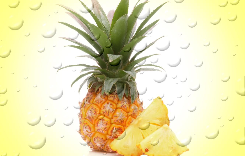 Photo wallpaper drops, bubbles, background, fruit, bubbles, pineapple, background, fruit, drops, pineapple