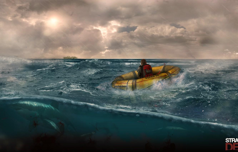 Photo wallpaper game, island, the crash, sharks, survival, Stranded deep