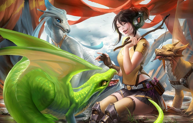 Photo wallpaper girl, emotions, the game, laughter, fish, dragons, headphones, art, wand, treat, sakimichan