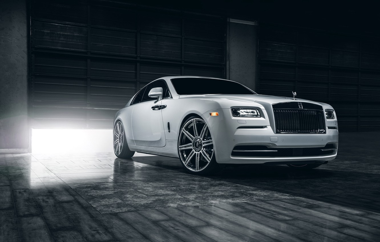 Photo wallpaper Rolls-Royce, Car, Front, White, Wheels, Class, Premium, Wraith, Vellano