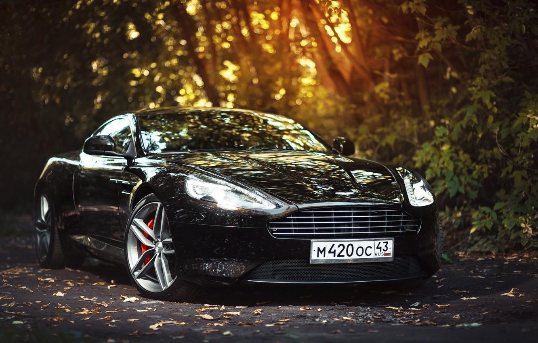 Photo wallpaper Aston Martin, Car, Front, Black, Sun, Super, Virage