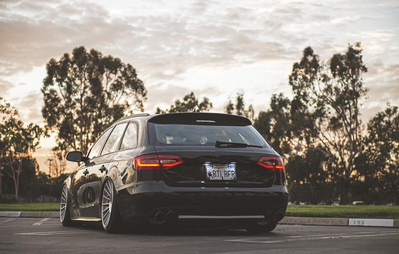 Photo wallpaper Audi, black, wagon, stance, before