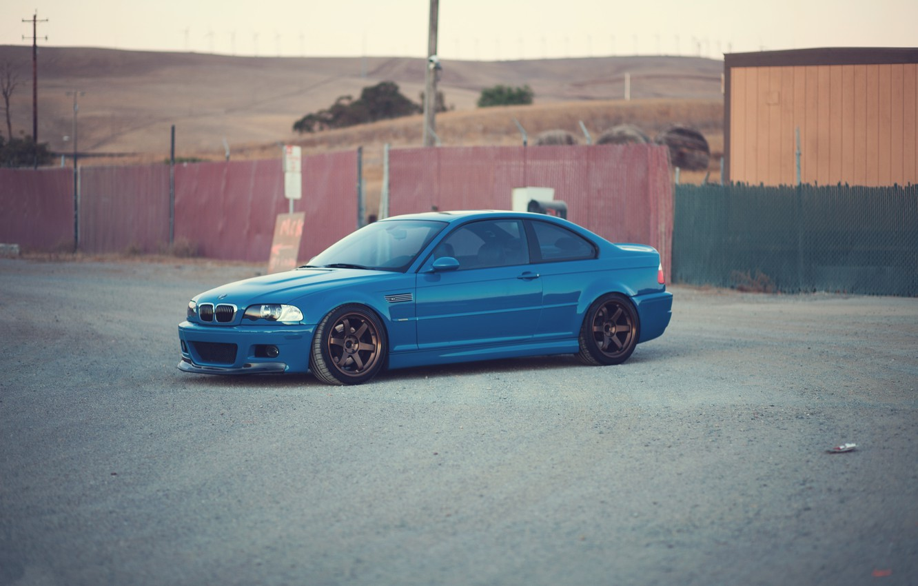 Photo wallpaper blue, bmw, BMW, the fence, front view, blue, e46