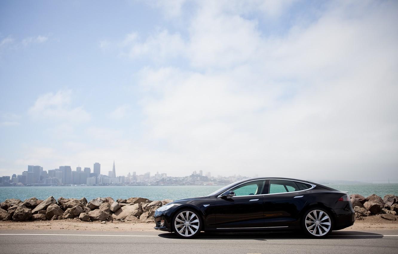 Photo wallpaper stones, shore, Tesla, electric car, model s