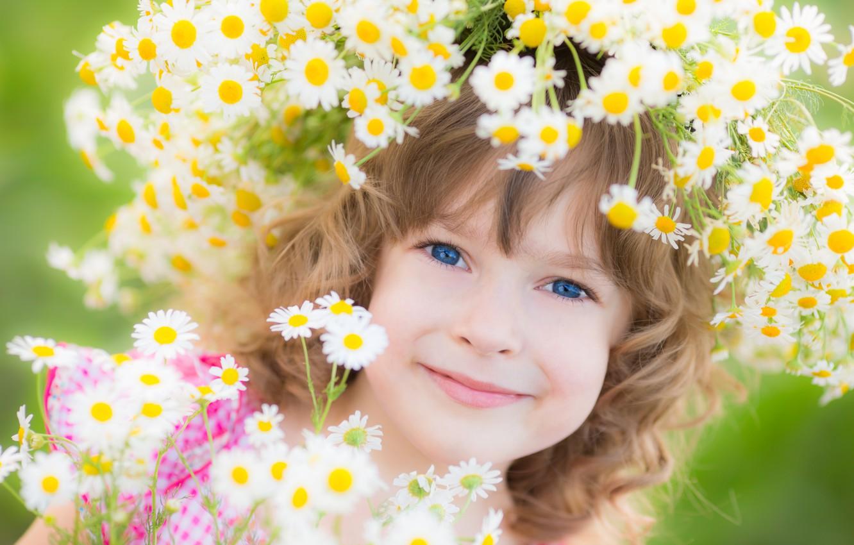 Photo wallpaper flowers, smile, girl, wreath, child, blue-eyed