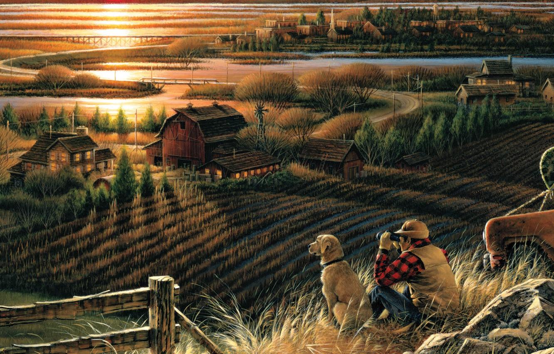 Photo wallpaper field, autumn, sunset, bridge, river, home, dog, the evening, binoculars, painting, migratory birds, Best Friends, ...