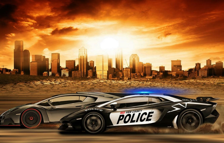 Photo wallpaper Lamborghini, Games, Police, Aventador, Supercar, Need For Speed, Veneno, Rivals